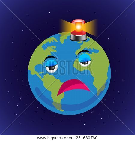 Vector Of Earth With Siren, Go Green, Save The Earth. Illustration