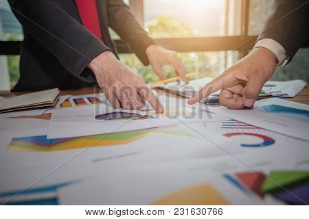 Business People Meeting At Working With Financial Reports