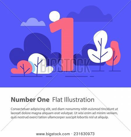 Number One, Top Chart Concept, Sequential Number, Night Sky, Park Trees, Vector Flat Design, Minimal