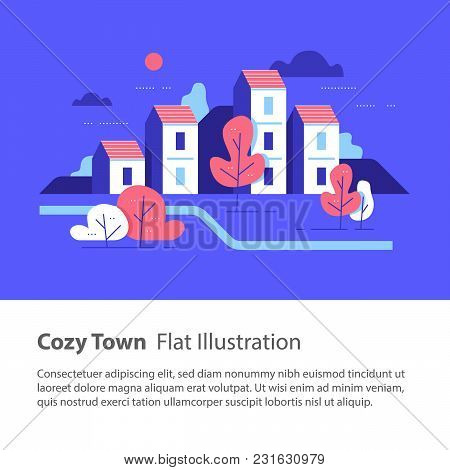 Cozy town, row of houses by the river with trees, residential building, river side settlement, green neighborhood, real estate development, flat design vector illustration poster