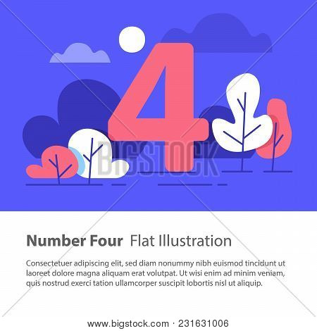 Number Four, Top Chart Concept, Sequential Number, Night Sky, Park Trees, Vector Flat Design, Minima