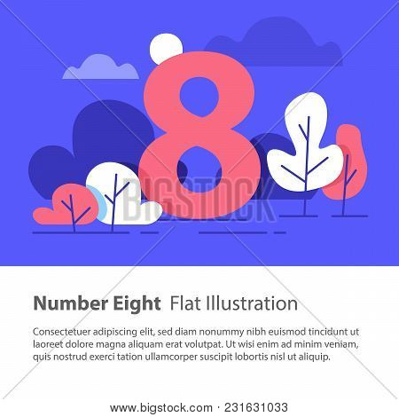 Number Eight, Top Chart Concept, Sequential Number, Night Sky, Park Trees, Vector Flat Design, Minim