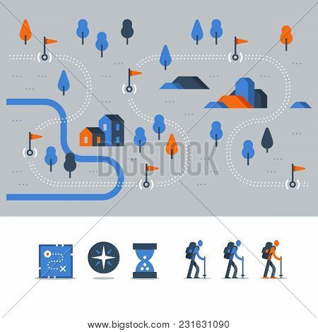 Hiking Map, Outdoor Trail, Countryside Landscape, Nordic Walking, Orienteering Concept, Trail Path W