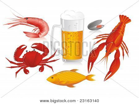 Mug Of Beer And Snack To Beer - Seafood
