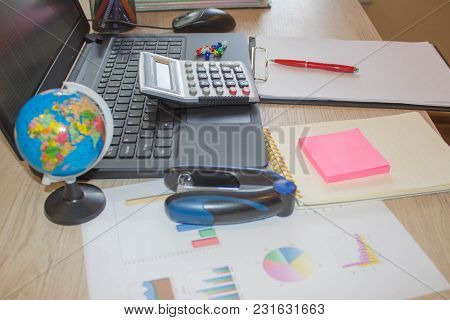 The Calculators, Accounting And Technology, Business, Computer, Laptop, Calculator And Documents In