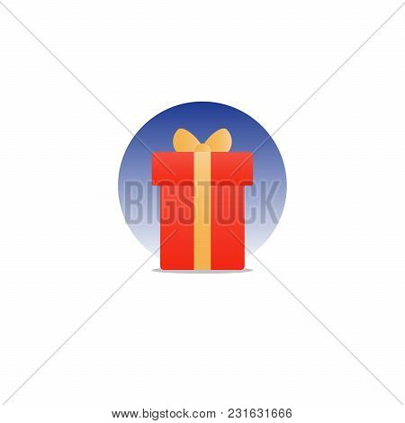 Special Gift, Red Box With Yellow Ribbon And Stars, Best Present Idea Concept, Creative Perfect Gift