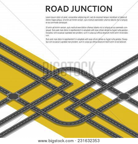 Isometric Complex Road Junction With Place For Text. Top View. Vector Illustration.