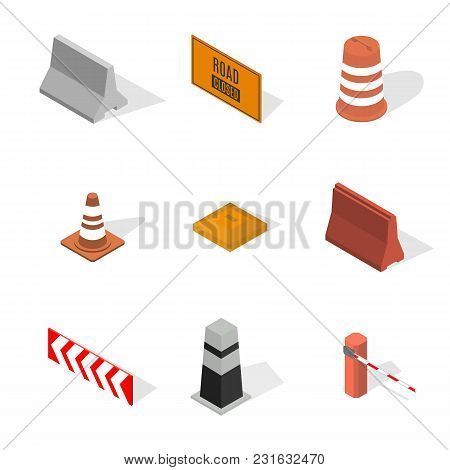 Set Of Different Signs Road Repairs, Isolated On White Background. Under Construction Design Element