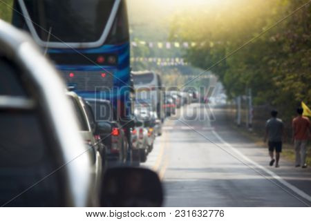 Abstract Blur Image Of Traffic Jam On The Road In Thailand On Travel Of Religion February To 9 Gold