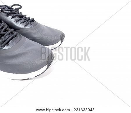 Sport Shoes On White Background, Exercise And Healthy Concept