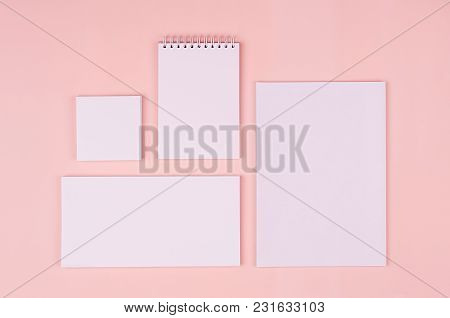 Corporate Identity Template With White Stationery Set On Soft Pastel Pink Background. Mock Up For Br