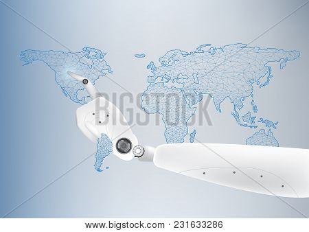 A Robotic Arm Is Touching On A World Map Display. Cybernetic Organism With  An Artificial Intelligen