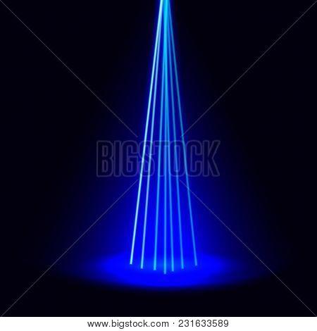Scene Illumination, Vector Blue Rays Of Light On Dark Background. Vector Digital Art.