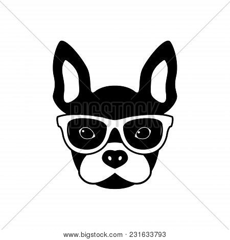 Portrait Of French Bulldog With Glasses, Black And White Flat Style. Vector Illustration Of Hipster