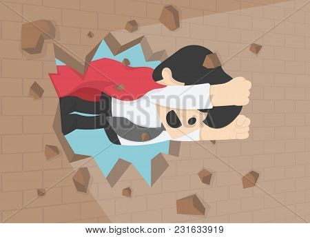 Illustration Of A Businessman Breaking T The Wall. Business Concept Illustration.