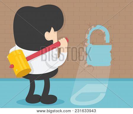 Young Businessman With Big Hammer Against Wall Symbol Key