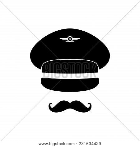 Pilot Avatar. Pilot With Cap And Mustache. Vector Illustration.
