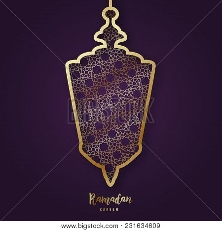 Illustration Of Ramadan Kareem With Decorative Arabic Lamp In Paper Cut Style And Lettering. Vector