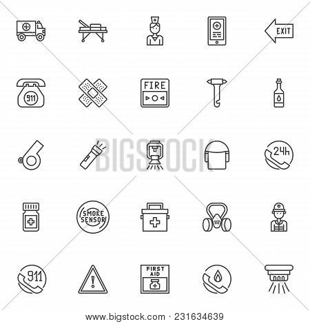 Emergencies Outline Icons Set. Linear Style Symbols Collection, Line Signs Pack Vector Graphics. Set
