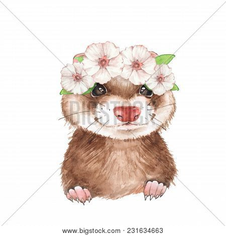Cute Ferret In Wreath. Watercolor Illustration, Isolated On White