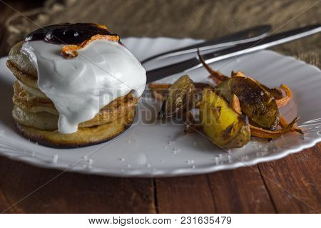 Pancakes With Sour Cream, Baked Vegetables And Potatoes