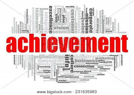 Achievement Word Cloud Concept On White Background, 3d Rendering.