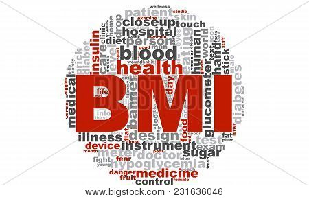Bmi Word Cloud. Creative Illustration Of Idea Word Lettering Typography . 3d Rendering