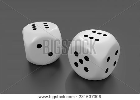 White Dice On Grey Background.chance Concept.3d Rendering