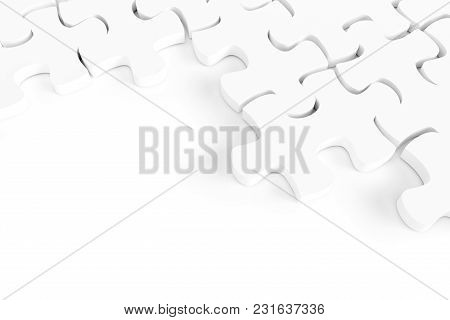 3d White Jigsaw Puzzle And Copy Space On White Background