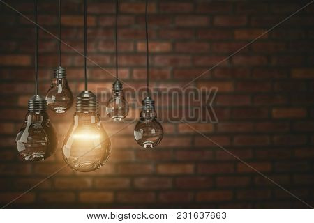 Teamwork Concept Vintage Bulbs On Wall Background, Copy Space For Text, 3d Rendering.