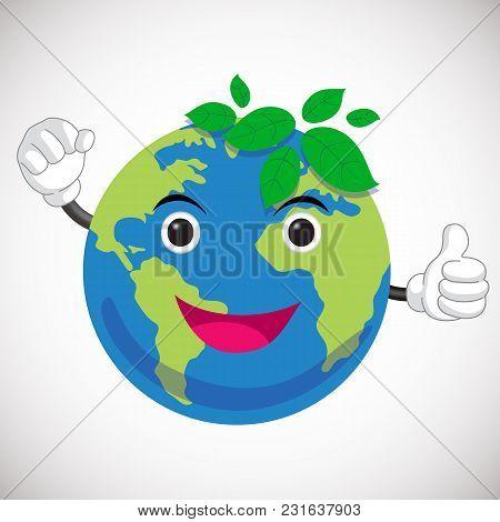 Green Earth Cartoon Character. Tumb Up. Earth Mascot Design. Save The World Concept.