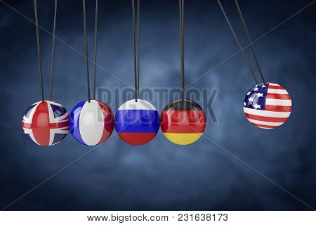 United States Of America And European Countries Flags.relationship Flag.3d Rendering