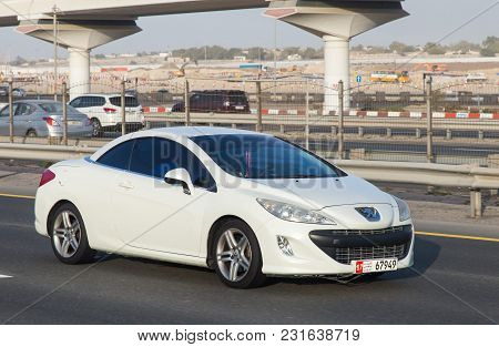 Dubai, Uae February 20, 2018: Peugeot Car Drive On The City Highway