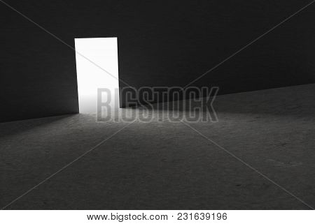 Open Single Door In Dark. 3d Rendering.