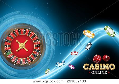 Design Casino Banner With Roulette And Poker Chips. Vector Illustration Wheel Fortune In Casino On B