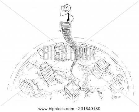 Cartoon Stick Man Drawing Conceptual Illustration Of Businessman Sitting Above The Cityscape On Sky