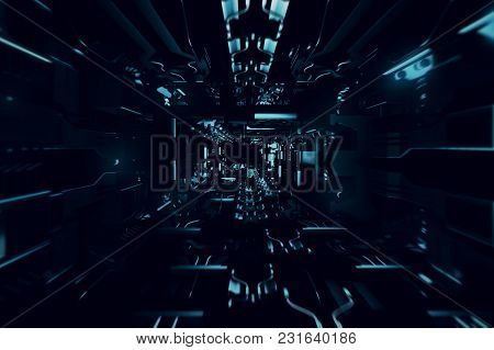 Fly Inside Of Futuristic Metallic Corridor 3d Illustration