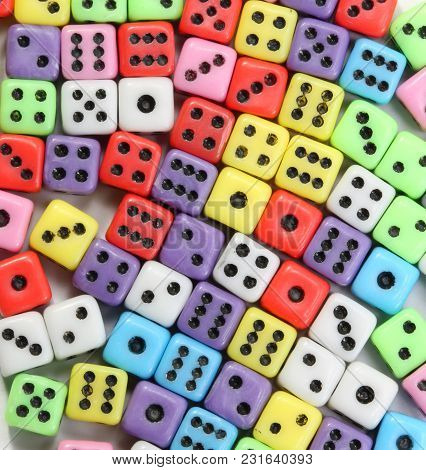 Background Of Many Gaming Dice With Black Dots