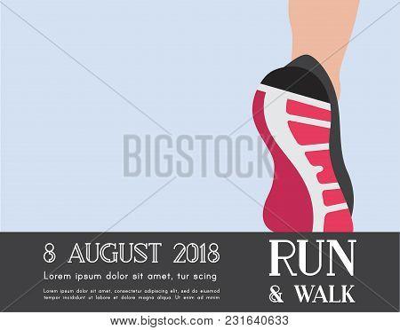 Athlete Runner Feet Running Or Walking On Road . Closeup Illustration Vector