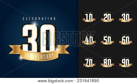 Set Of Anniversary Logotype. Anniversary Celebration Emblem With Ribbon Design For Booklet, Leaflet,