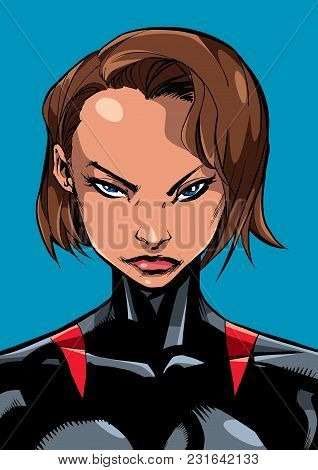 Comics Illustration Of The Portrait Of A Powerful Superheroine Looking At Camera With A Tough Facial