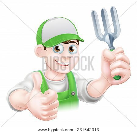 Cartoon Happy Gardener In A Cap And Dungarees Holding A Garden Fork Tool And Giving A Thumbs Up