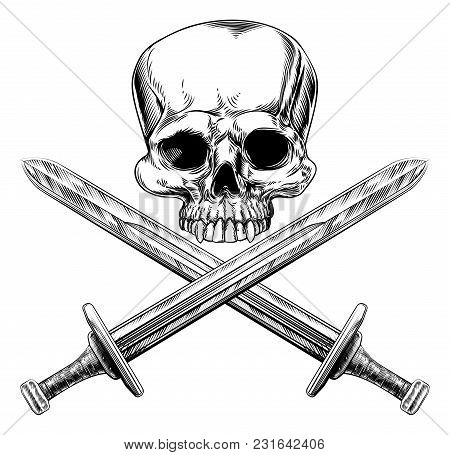 Skull And Cross Swords Pirate Sign In A Vintage Woodblock Style