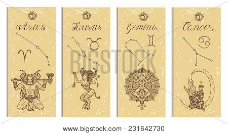 Set With Aries, Bull, Gemini And Cancer Zodiac Symbols Banners On Texture. Hand Drawn Graphic Illust