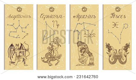 Set With Archer, Capricorn, Aquarius And Pisces Zodiac Symbols Banners On Texture. Hand Drawn Graphi