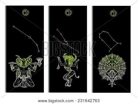 Set With Aries, Bull, Gemini Zodiac Symbols Banners On Black. Hand Drawn Graphic Vector Illustration