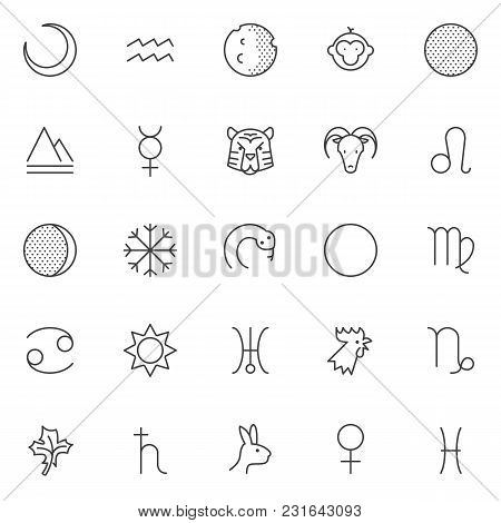 Astrology Outline Icons Set. Linear Style Symbols Collection, Line Signs Pack. Vector Graphics. Set