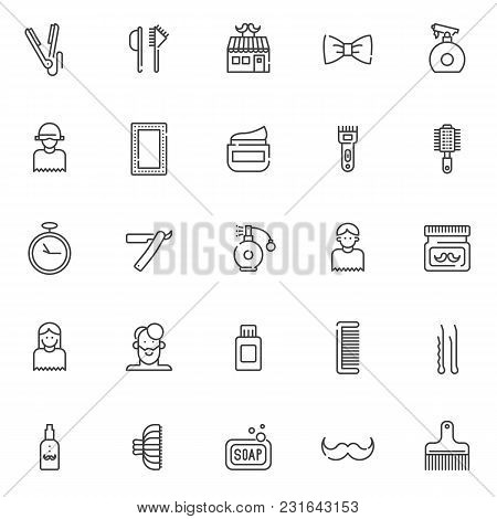 Barber Outline Icons Set. Linear Style Symbols Collection, Line Signs Pack. Vector Graphics. Set Inc