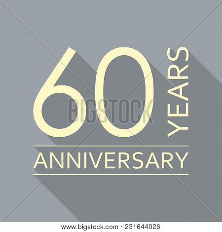 60 Years Anniversary Emblem. Anniversary Icon Or Label. 60 Years Celebration And Congratulation Desi