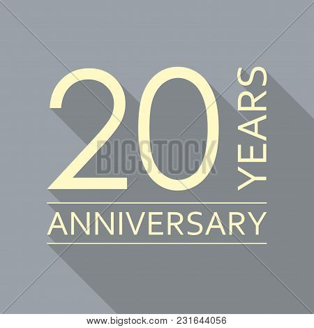 20 Years Anniversary Emblem. Anniversary Icon Or Label. 20 Years Celebration And Congratulation Desi